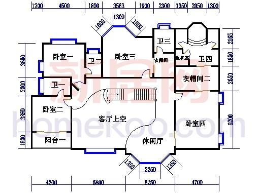 J1型别墅二层