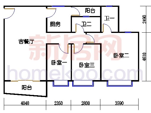 自在明苑3-5栋、自在闲庭1-4栋复式01单位复式一层
