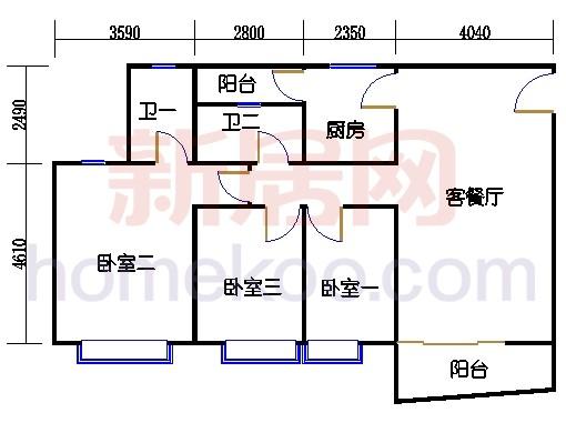 自在明苑3-5栋、自在闲庭1-4栋复式02单位复式一层