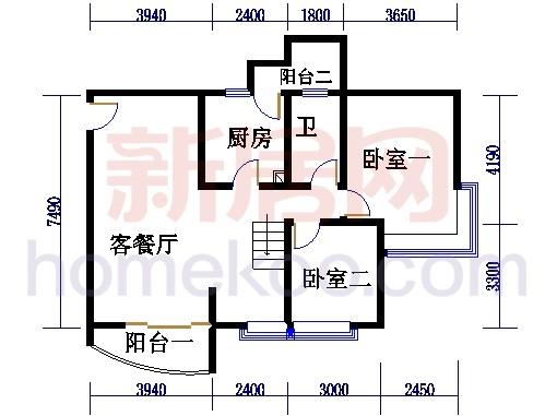 自在庭苑4-6栋复式层01单位复式一层