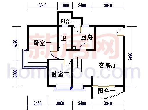 自在庭苑4-6栋复式层02单位复式一层