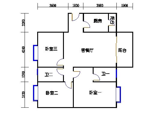 雨顺轩10-14层01单元