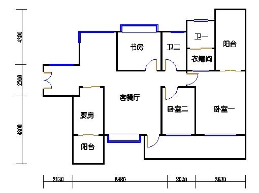 1.2.3.4.5.6栋奇数层A单元