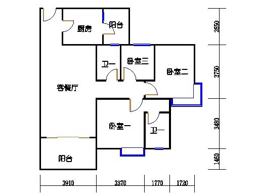 1号楼3层1号04单元
