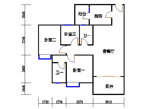 1号楼2层3号03单元