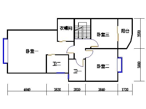 C栋5-6-7跃层A单元二层