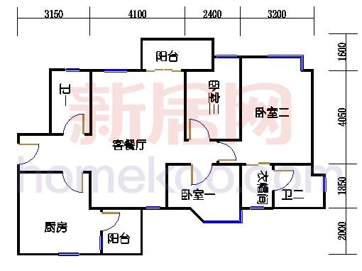 A2号楼3-6平面07单元