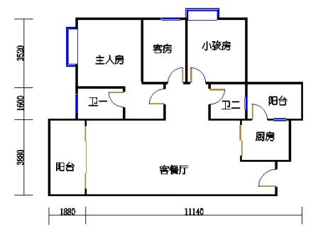 Y3栋5、6、8、9、11、12、14、15、17、18、20、21层05单元