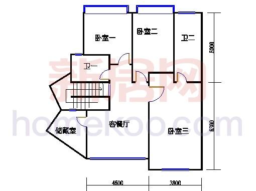 B型蝶式别墅上层02