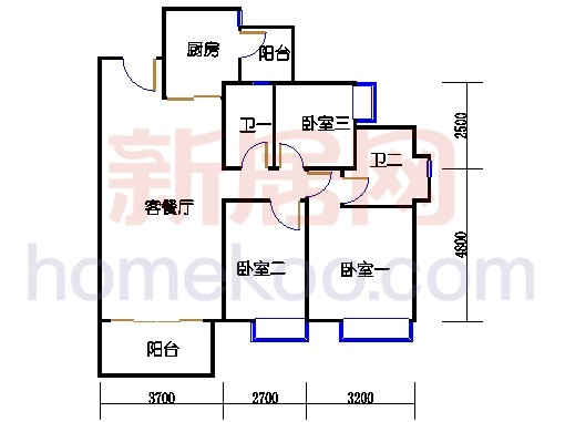 2D-13栋3至12层平面图01
