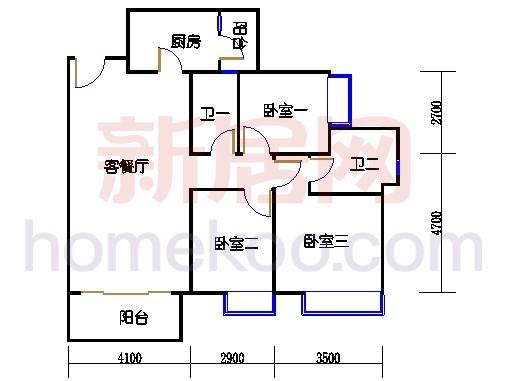 2D-15栋3至15层平面图01