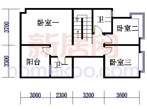 多联体别墅二层户型1