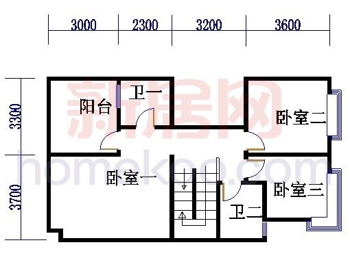 多联体别墅二层户型2