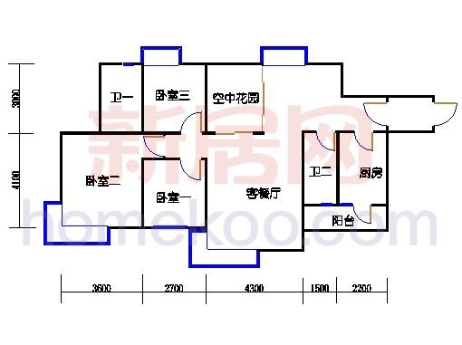 2D-15栋3至15层平面图03