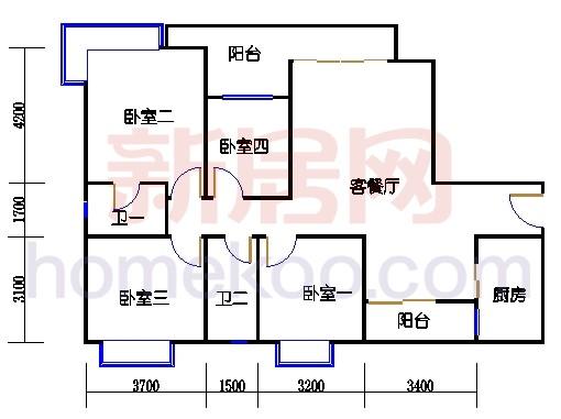 2D-15栋3至15层平面图04