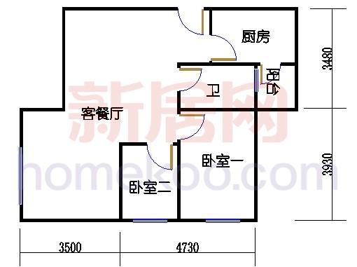 丰泽大厦二居室A户型