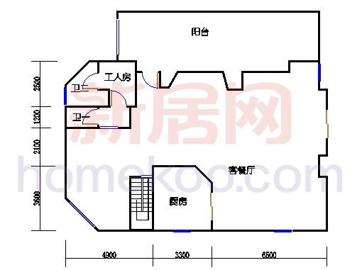 1623型二层环湖半山豪华别墅首层