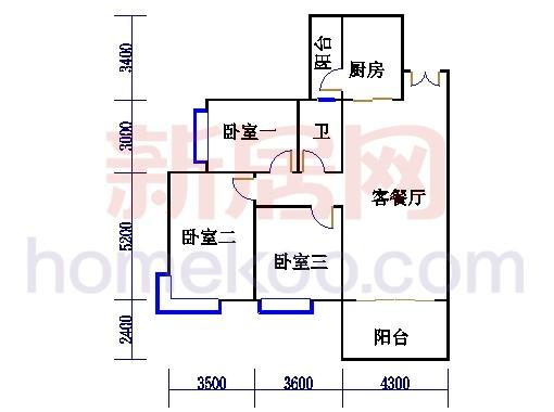 B1栋4层户型02单元