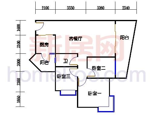 别墅全山景洋房ABC栋2-17层2层01单位