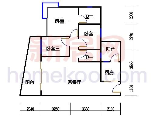别墅全山景洋房ABC栋2-17层2层04单位