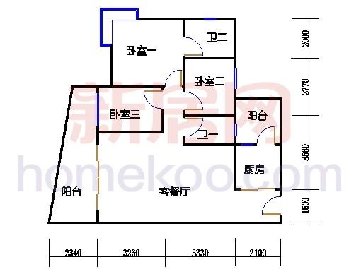 别墅全山景洋房ABC栋2-17层3-5层04单位