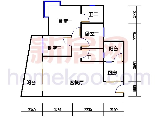 别墅全山景洋房ABC栋2-17层6-15层04单位