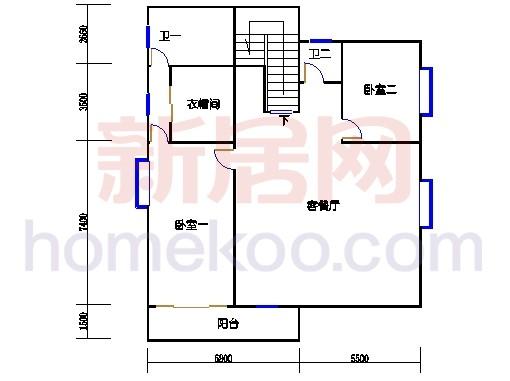 D058型独立别墅二层