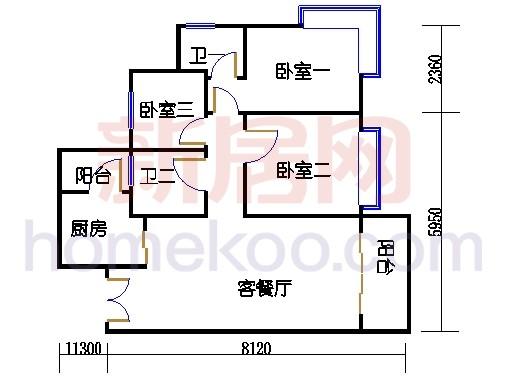 2D-6栋3-15层01单位