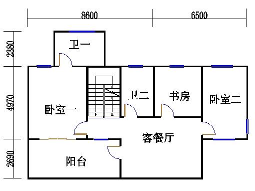 独栋别墅A4户型二层