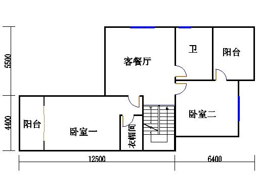 双拼别墅B2户型二层