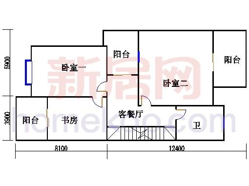 双拼别墅C1户型二层