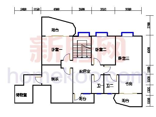 一街4、7座、三街3、6座18-19复式层01户型二层