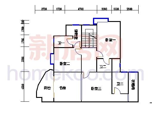 一街4、7座、三街3、6座18-19复式层04户型二层
