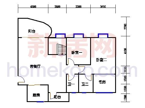 一街2、5座、三街1、4座18-19复式层01户型首层