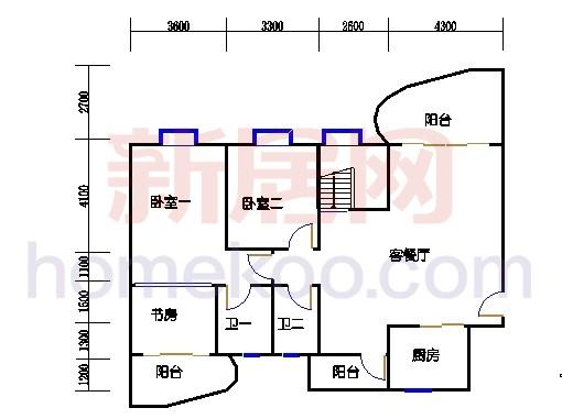 一街2、5座、三街1、4座18-19复式层02户型首层