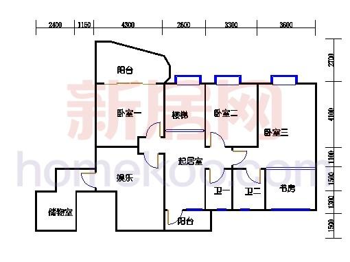 一街2、5座、三街1、4座18-19复式层01户型二层