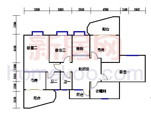 一街2、5座、三街1、4座18-19复式层02户型二层