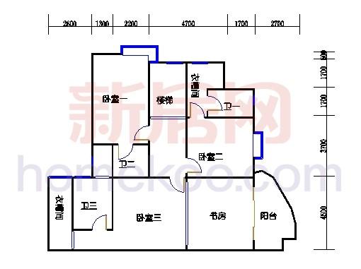 一街2、5座、三街1、4座18-19复式层03户型二层