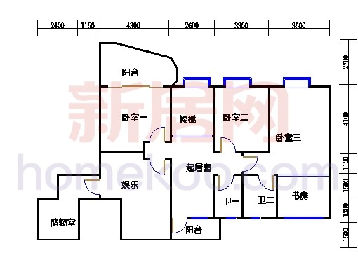 一街2、5座、三街1、4座16-17复式层01户型二层