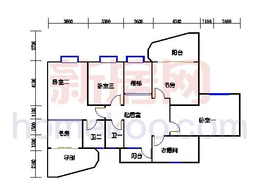 一街2、5座、三街1、4座16-17复式层02户型二层