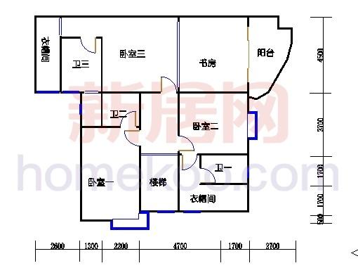 一街2、5座、三街1、4座16-17复式层04户型二层