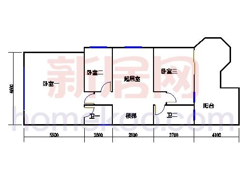 E-b-1型双联体别墅二层