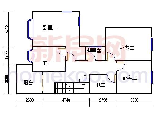 双排别墅H单位二层