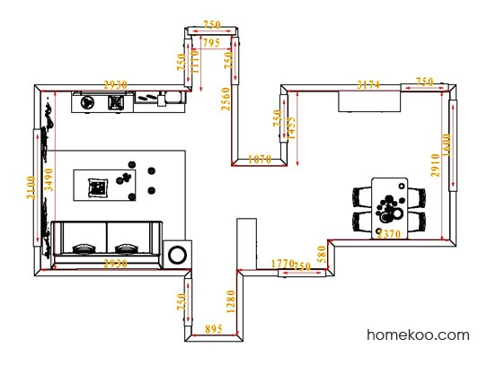 平面布置图斯玛特系列客餐厅G0881