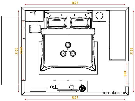 平面布置图斯玛特系列卧房A3734