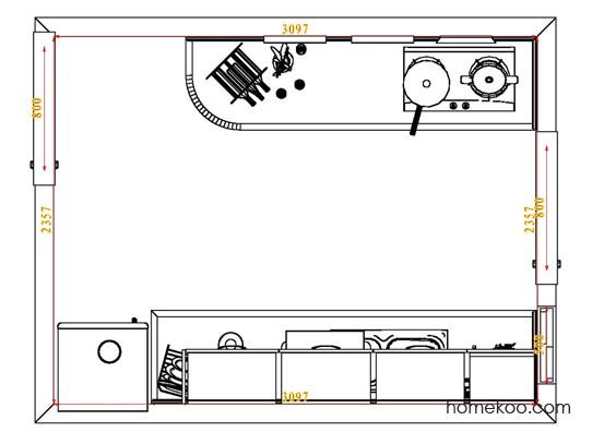 平面布置图乐维斯系列厨房F3804