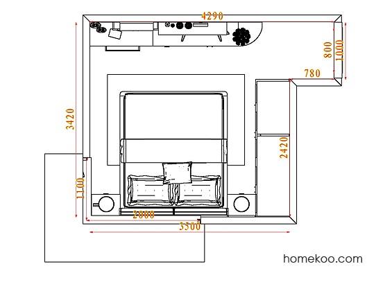 平面布置图德丽卡系列卧房A4006