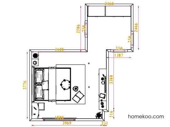 平面布置图格瑞丝系列卧房A4091