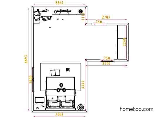 平面布置图德丽卡系列卧房A4093