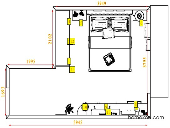 平面布置图格瑞丝系列卧房A4446